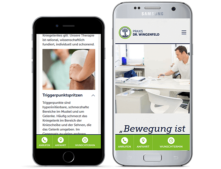Praxis Wingenfeld Website auf iPhone und Samsung Galaxy